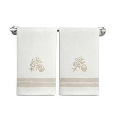 Shells Cluster Stripe Coastal Guest Towels (Set of 2)