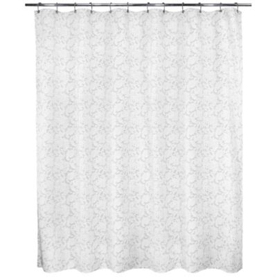 Victorian Lace Stall Shower Curtain in White/Silver