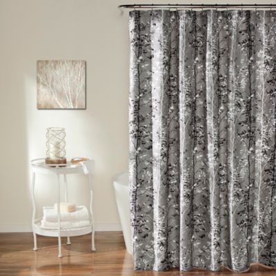 Forest Shower Curtain in Grey/Black