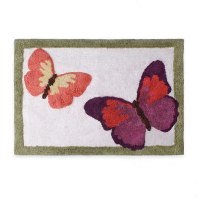 Rainbow Butterfly 20-Inch x 30-Inch Bath Rug