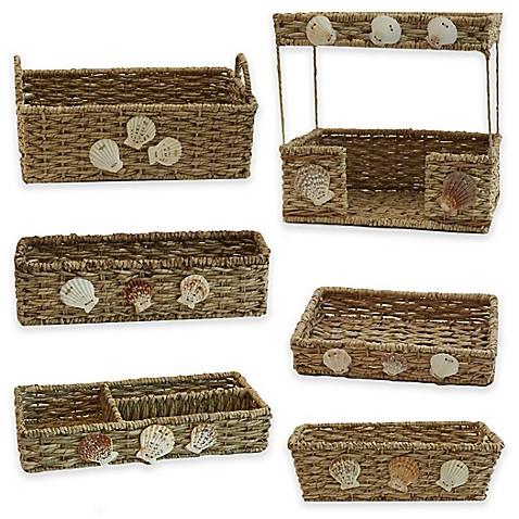 Baum seaside bathroom accessories and baskets bed bath for Basket bathroom accessories