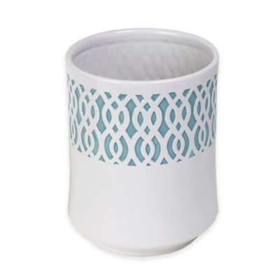 Blue Ceramic Wastebasket