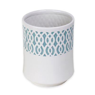 Watercolor Lattice Ceramic Wastebasket