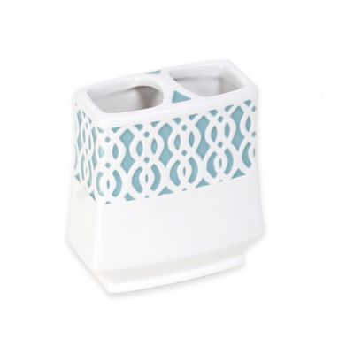 Watercolor Lattice Ceramic Toothbrush Holder
