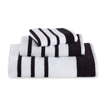 kate spade new york Harbour Stripe Hand Towel in White/Black