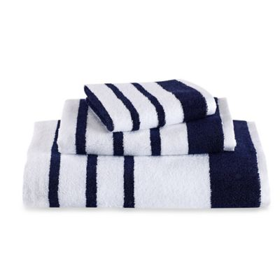 kate spade new york Harbour Stripe Hand Towel in Navy