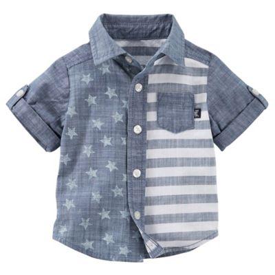 OshKosh Baby B'gosh® Size 3M Stars and Stripes Button-Front Shirt in Chambray
