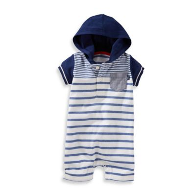 OshKosh Baby B'gosh® Size 3M Striped Hooded Romper in Blue/Ivory