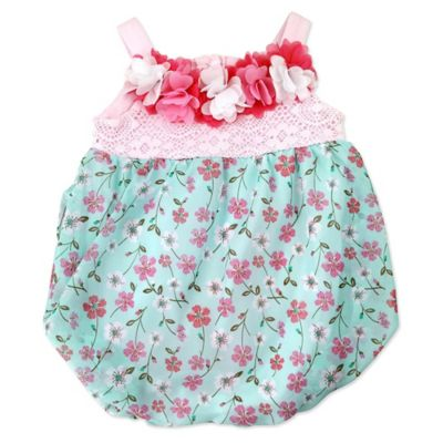 Nannette Baby® Size 0-3M Chiffon Floral Bubble Romper with Lace and Flower Bodice