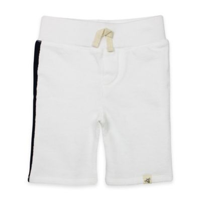 Burt's Bees Baby® Size 18M Loose Pique Racing Stripe Short in White/Navy