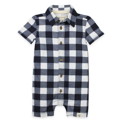 Burt's Bees Baby® Size 18M Organic Cotton Buffalo Check Shortall in Navy