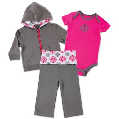 BabyVision® Yoga Sprout Size 9-12M 3-Piece Hoodie, Bodysuit, and Pant Set in Grey/Pink