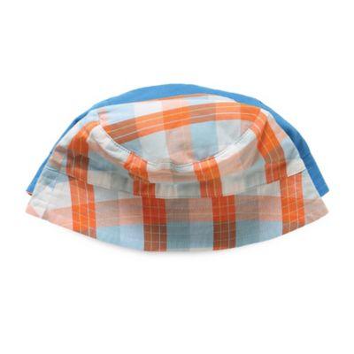 Rockin' Baby Seaside Noah Size 6-12M Reversible Sun Hat in Orange and White Plaid/Blue