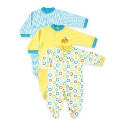 BabyVision® Luvable Friends® Size 6-9M 3-Pack Snap-Front Footies in Yellow/Teal