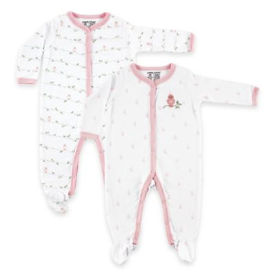 BabyVision® Luvable Friends® Size 6-9M 2-Pack Bird Snap-Front Footies in Pink/White