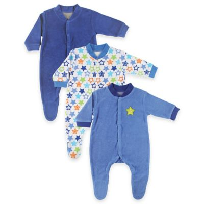 BabyVision® Luvable Friends® Size 6-9M 3-Pack Terry Snap-Front Footies in Blue/Green