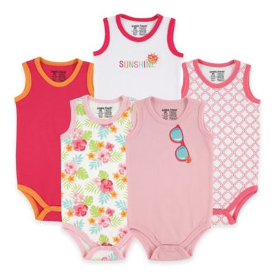 BabyVision® Luvable Friends® Size 3-6M 5-Pack Sunglasses Sleeveless Bodysuits in Pink
