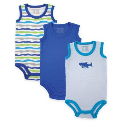 BabyVision® Luvable Friends® Size 0-3M 3-Pack Shark Sleeveless Bodysuits in Blue