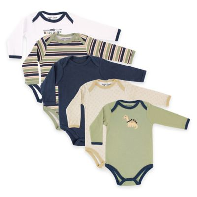 BabyVision® Luvable Friends® Size 6-9M 5-Pack Dinosaur Long Sleeve Bodysuits in Green