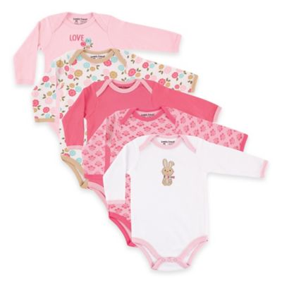 BabyVision® Luvable Friends® Size 6-9M 5-Pack Bunny Long Sleeve Bodysuits in Pink