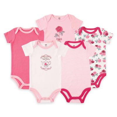 BabyVision® Luvable Friends® Size 6-9M 5-Pack Tea/Roses Short Sleeve Bodysuits in Pink