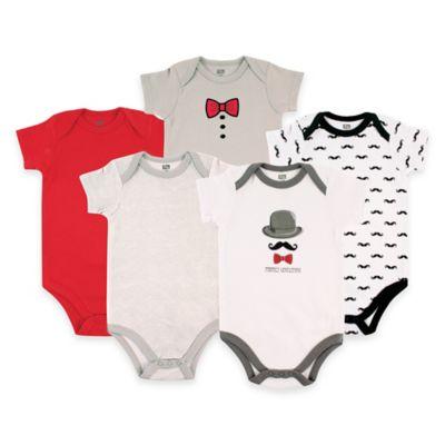BabyVision® Hudson Baby® Size 3-6M 5-Pack Gentleman Short Sleeve Bodysuits in Grey