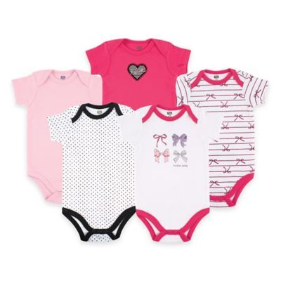 BabyVision® Hudson Baby® Size 0-3M 5-Pack Bows Short Sleeve Bodysuits in Pink