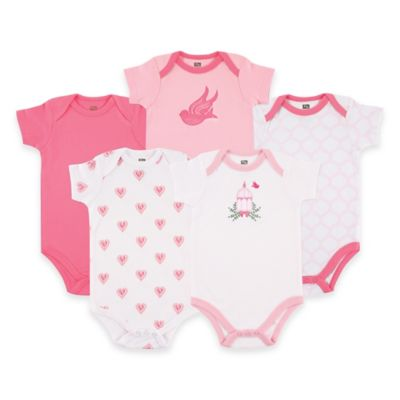 BabyVision® Hudson Baby® Size 0-3M 5-Pack Bird Cage Short Sleeve Bodysuits in Pink