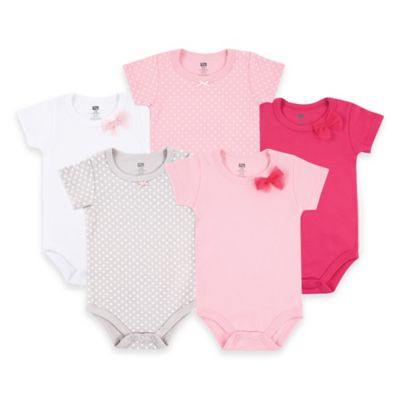 BabyVision® Hudson Baby® Size 3-6M 5-Pack Basic Bow Bodysuits in Pink