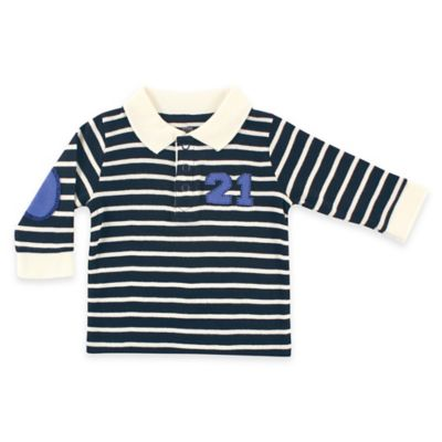 "BabyVision® Hudson Baby® Size 0-3M ""21"" Long Sleeve Rugby Shirt in Black/Blue"