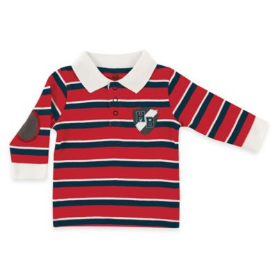 "BabyVision® Hudson Baby® Size 0-3M ""HB"" Crest Long Sleeve Rugby Shirt in Red/Navy"