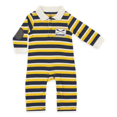 BabyVision® Hudson Baby® Size 0-3M Rugby Rowing Coverall in Yellow