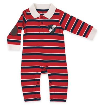 "BabyVision® Hudson Baby® Size 0-3M Rugby ""HB"" Crest Coverall in Red"
