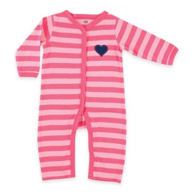 BabyVision® Hudson Baby® Size 0-3M Striped Ruffle Coverall in Pink