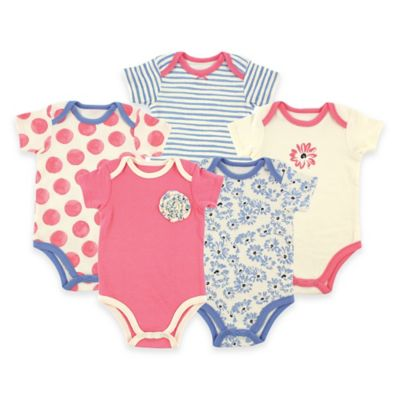 BabyVision® Hudson Baby® Size 0-3M 5-Pack Tossed Flower Short Sleeve Bodysuits in Pink
