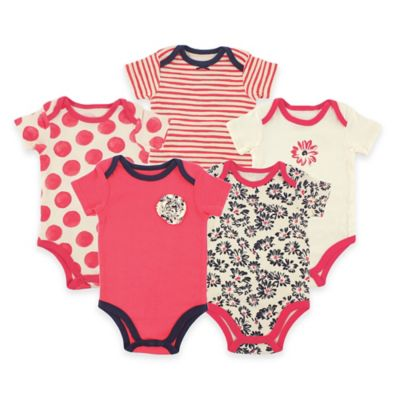 BabyVision® Hudson Baby® Size 0-3M 5-Pack Daisy Short Sleeve Bodysuits in Red