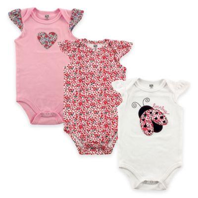 BabyVision® Hudson Baby® Size 6-9M 3-Pack Lovebug Flutter Sleeve Bodysuits in Pink