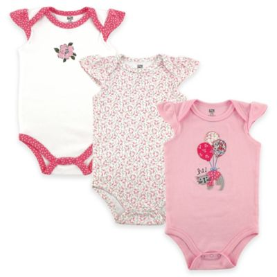 BabyVision® Hudson Baby® Size 6-9M 3-Pack Kitty Flutter Sleeve Bodysuits in Pink