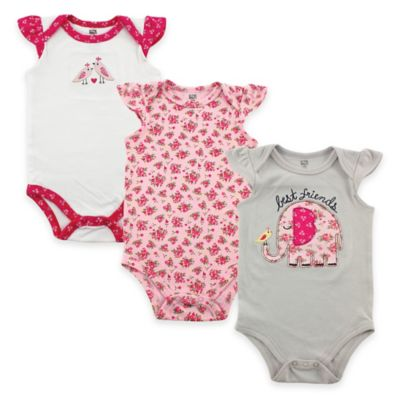 "BabyVision® Hudson Baby® Size 0-3M 3-Pack ""Best Friends"" Flutter Sleeve Bodysuits in Grey"