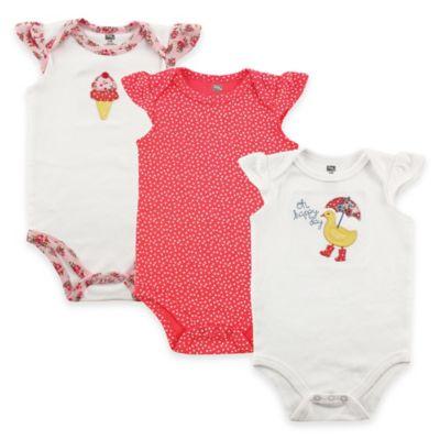 BabyVision® Hudson Baby® Size 6-9M 3-Pack Duck Flutter Sleeve Bodysuits in White