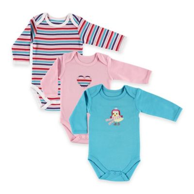BabyVision® Hudson Baby® Size 9-12M 3-Pack Bird Long Sleeve Bodysuits in Pink