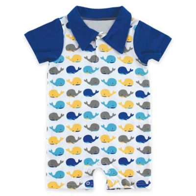 BabyVision® Hudson Baby® Size 0-3M Whale Print Collared Romper