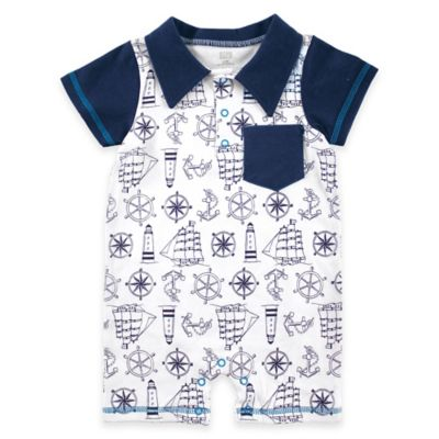 BabyVision® Size 0-3M Hudson Baby® Nautical Print Collared Romper