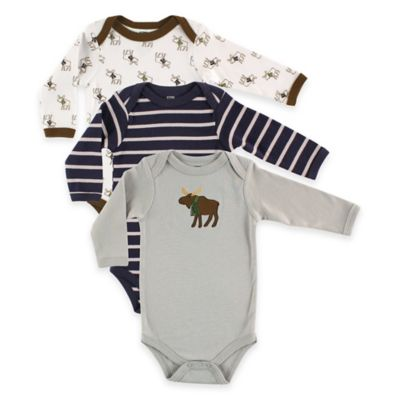 BabyVision® Hudson Baby® Size 6-9M 3-Pack Moose Long Sleeve Bodysuits in Grey