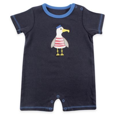 BabyVision® Hudson Baby® Size 0-3M Seagull Short Sleeve Romper in Navy
