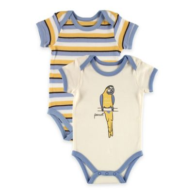 "BabyVision® Touched by Nature Size 6-9M 2-Pack ""Parrot"" Organic Cotton Bodysuits in Blue"