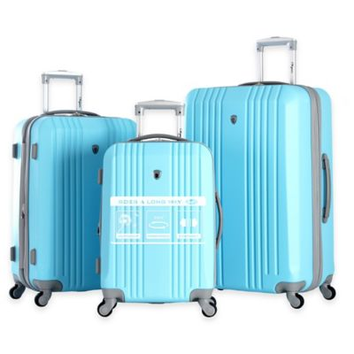Olympia® USA Corsair 3-Piece 4-Wheel Expandable Spinner Luggage Set in Sky Blue
