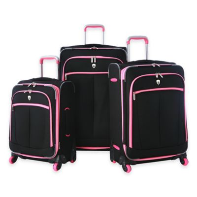 Olympia® USA Evansville 3-Piece 4-Wheel Expandable Spinner Luggage Set in Black/Pink