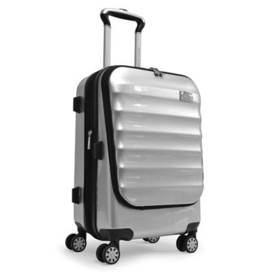 Adrienne Vittadini 21-Inch 8-Wheel Expandable Rolling Business Carry On Suiter in Silver