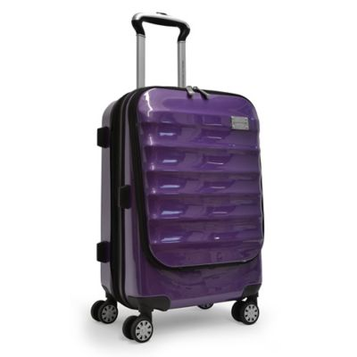 Adrienne Vittadini 21-Inch 8-Wheel Expandable Rolling Business Carry On Suiter in Purple